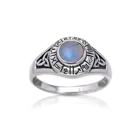 Zodiac Celtic Rainbow Moonstone Ring | Moonstone Rings