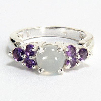 Sterling Silver White Moonstone and Amethyst Ring
