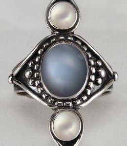 pearl moonstone ring
